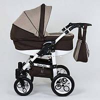 Коляска для детей Saturn с белой рамой шоколадно-бежевый SKL11-221468
