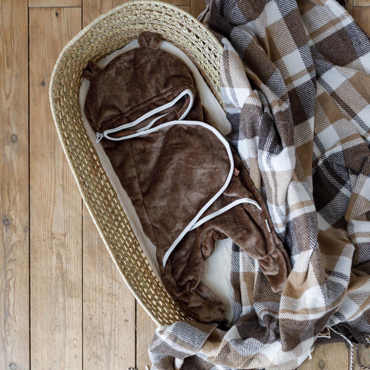 Універсальний махровий спальник, коричневий, 6-12 міс.
