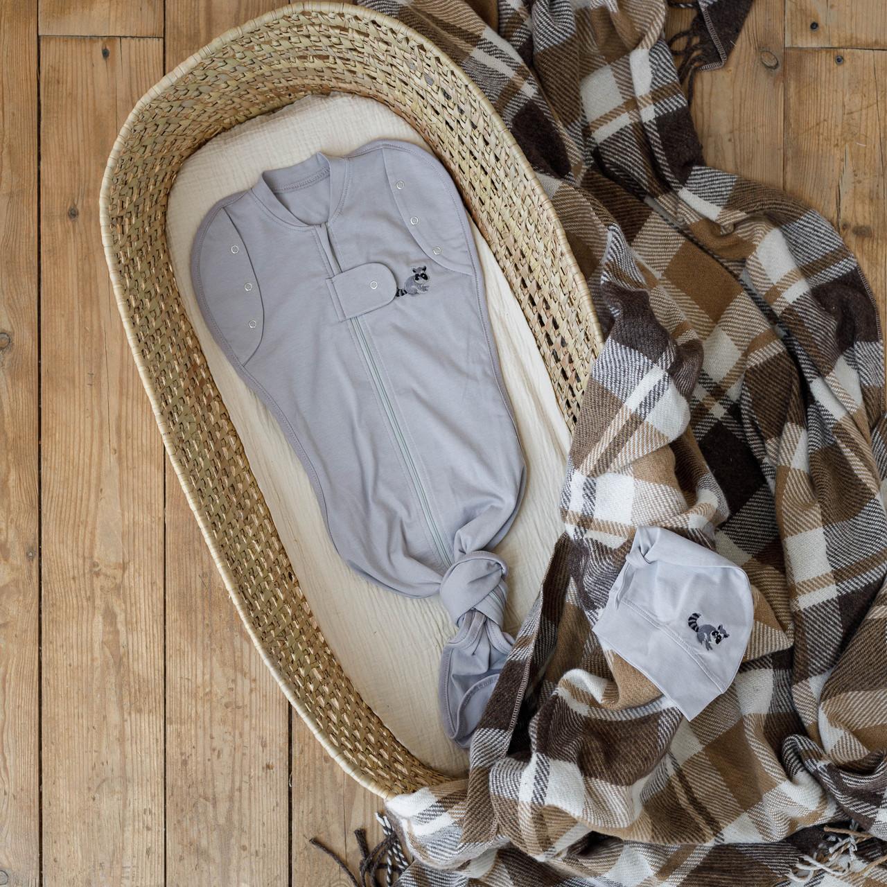 Безразмерная пеленка на молнии с шапочкой Каспер, Енот