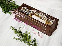 Коробка подарочная для алкоголя  с прозрачной акриловой крышкой на свадьбу «Сакура»