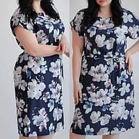 Платье летнее большой размер в нежный цветок, размеры 48,50,52 от производителя