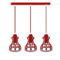 Подвесной  светильник, индустриальный стиль стиль, loft, vintage RINGS-3 Е27  красный