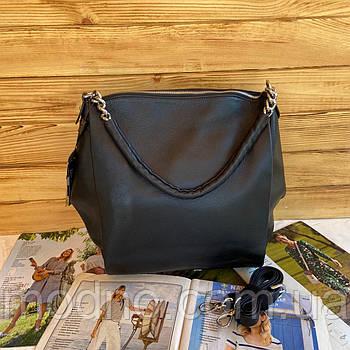 Жіноча шкіряна плечова сумка велика чорна Polina & Eiterou