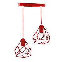 Подвесной  светильник, индустриальный стиль стиль, loft, vintage RUBY-2 Е27  красный