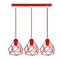 Подвесной  светильник, индустриальный стиль стиль, loft, vintage RUBY-3 Е27  красный