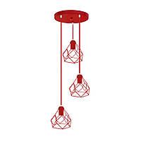 Подвесной  светильник, индустриальный стиль стиль, loft, vintage RUBY-3G Е27  красный