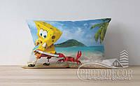 """Детская подушка с фото """"Губка Боб у моря"""""""