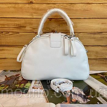 Жіноча шкіряна сумка саквояж на два відділення Polina & Eiterou Білий