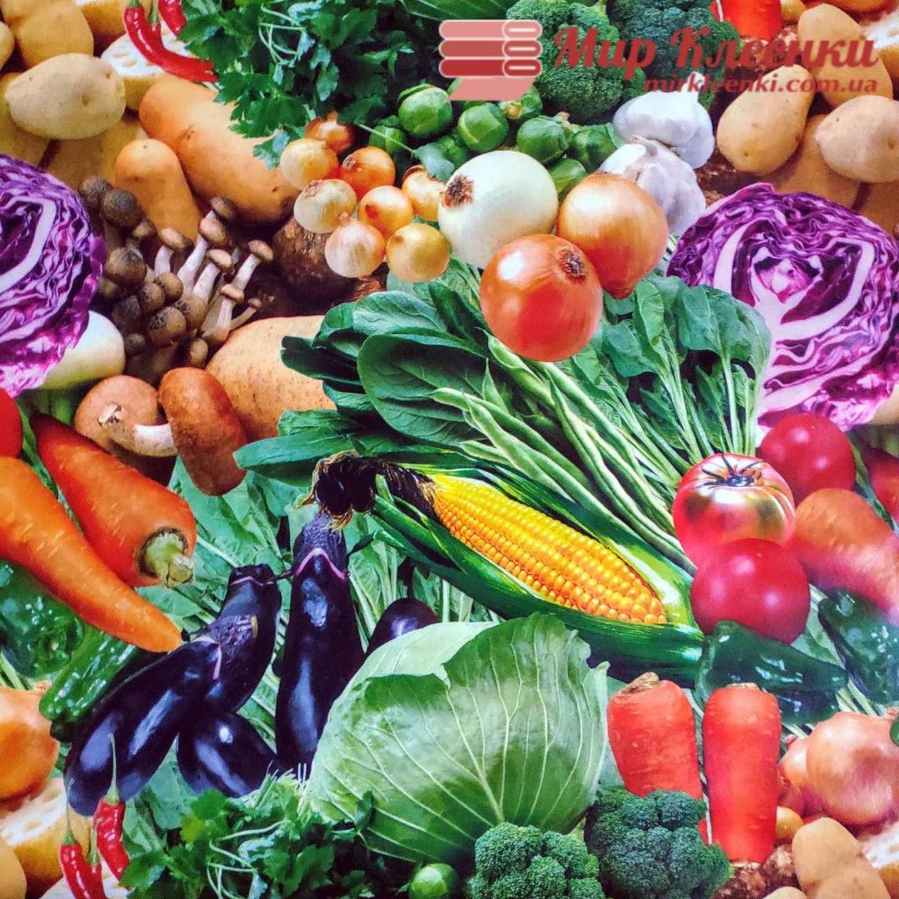 """Клеенка ПВХ на основе """"Овощи"""" ширина 135 см"""