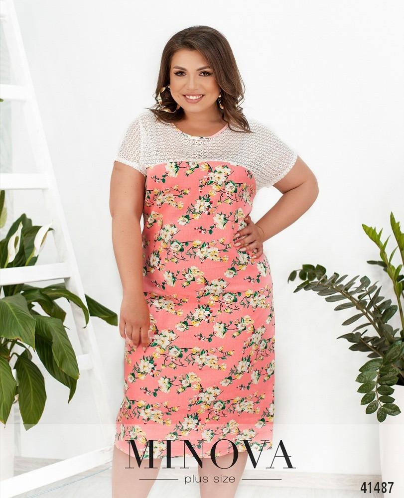 Платье в цветочек изо льна в цветочек большой размер от 50 до 64