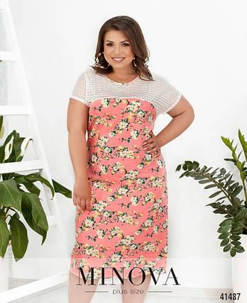 Платье в цветочек изо льна в цветочек большой размер от 50 до 64, фото 2