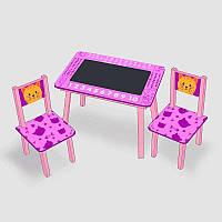 Столик Мини Котик с меловой поверхностью и 2 стульчика, розовый, 60х46 см SKL11-181708
