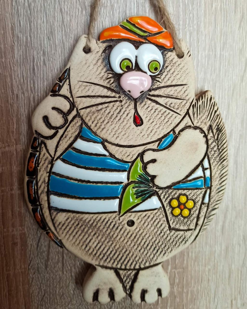 """Сувенир керамический """"Кот рыбак"""""""