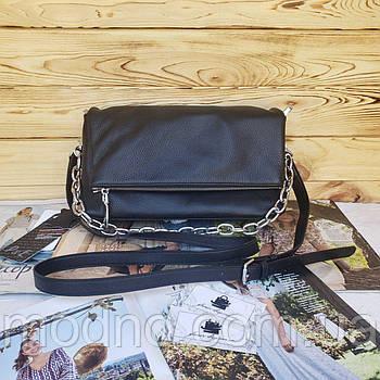 Жіноча шкіряна сумка через плече чорна Polina & Eiterou