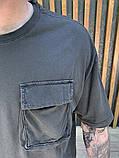 Футболка мужская оверсайз графит с карманом, фото 3