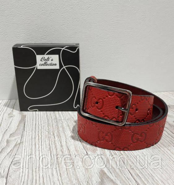 Ремень женский кожаный красный 3,5см