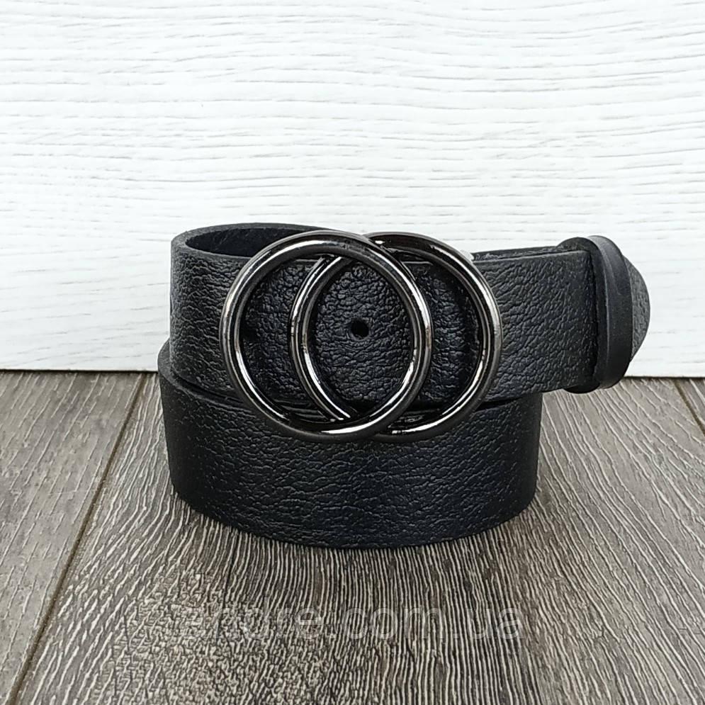 Ремень женский кожаный черный 3,5см