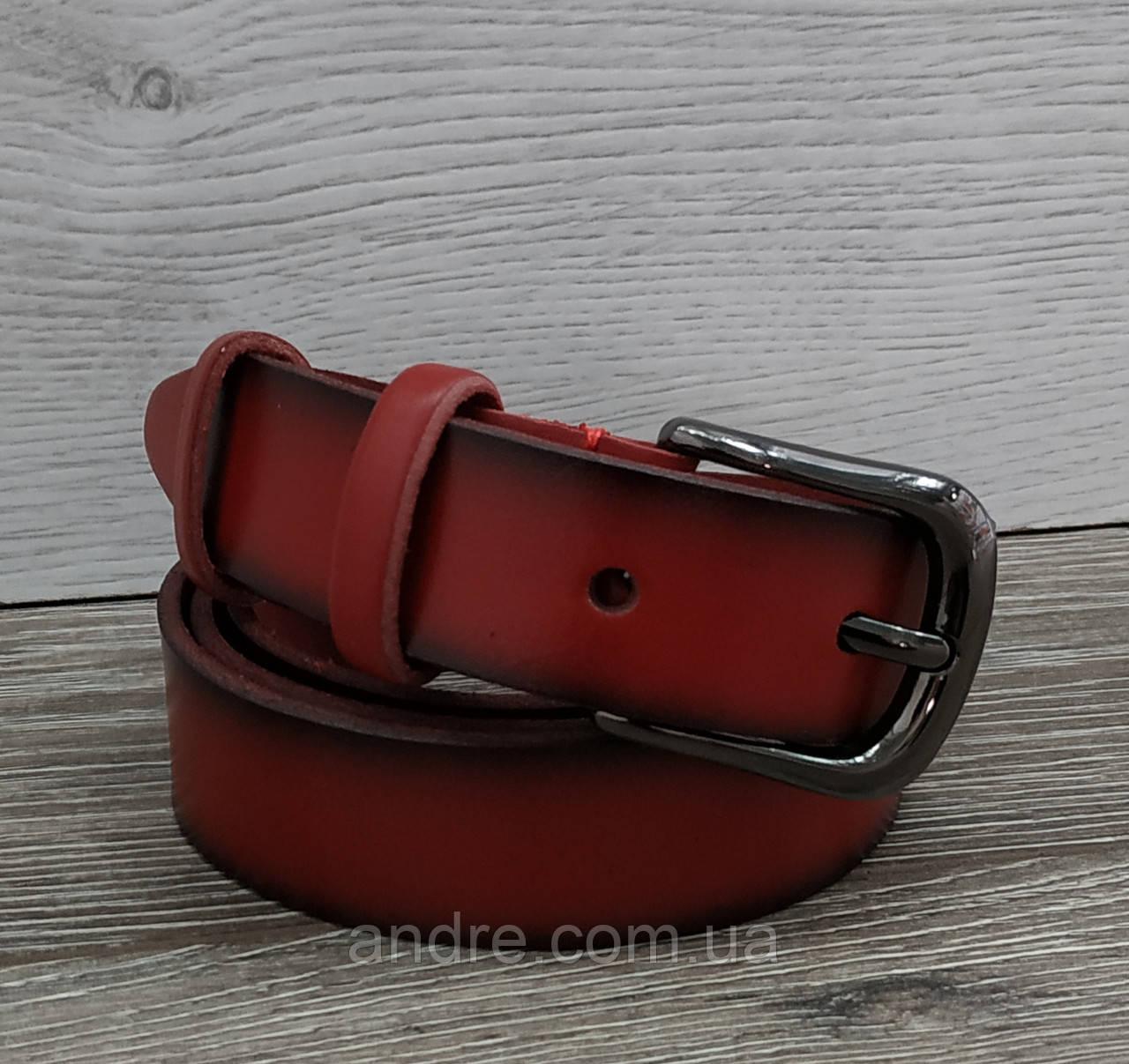 Ремень женский кожаный красный с темными краями