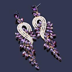 Сережки вечірні з весільні оптом ЗІ-002, фіолетовий із золотистою основою
