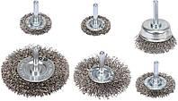 Щетки зачистные из нержавеющей стали с хвостовиком 6 мм, набор 6 шт, YATO
