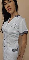 Жіночий медичний халат Оксана з сорочкової тканини короткий рукав