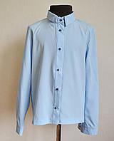 Школьная рубашка для девочки 9-12 лет классическая голубого цвета