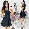 Чорне плаття жіноче декорований мереживом (4 кольори) ЕФ/-547