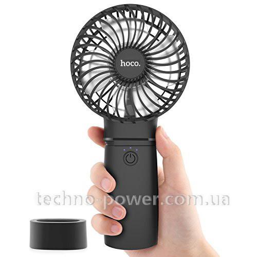 Портативный вентилятор/PowerBank 4000mAh HOCO F11 Black 2 в 1. Ручной мини вентилятор портативный