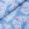 Сатин з фламінго і пальмовим листям на синьому джинсовому, ш. 160 см
