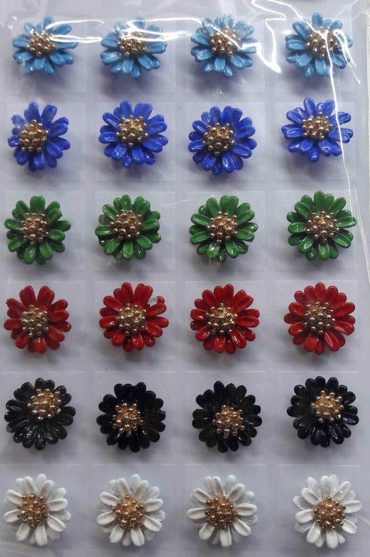 "Серьги-гвоздики ""Цветок"" / цена за пару"