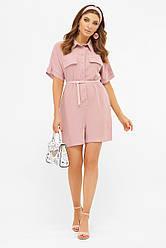 Річний рожевий жіночий короткий комбінезон-сорочка з шортами