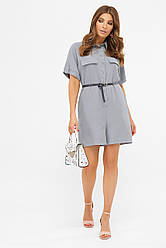 Короткий жіночий літній комбінезон з шортами джинс світлий