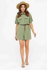 Літній жіночий комбінезон-сорочка з шортами світлий хакі