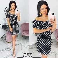 Элегантное черное платье женское в горошек (3 цвета) ЕФ/-559