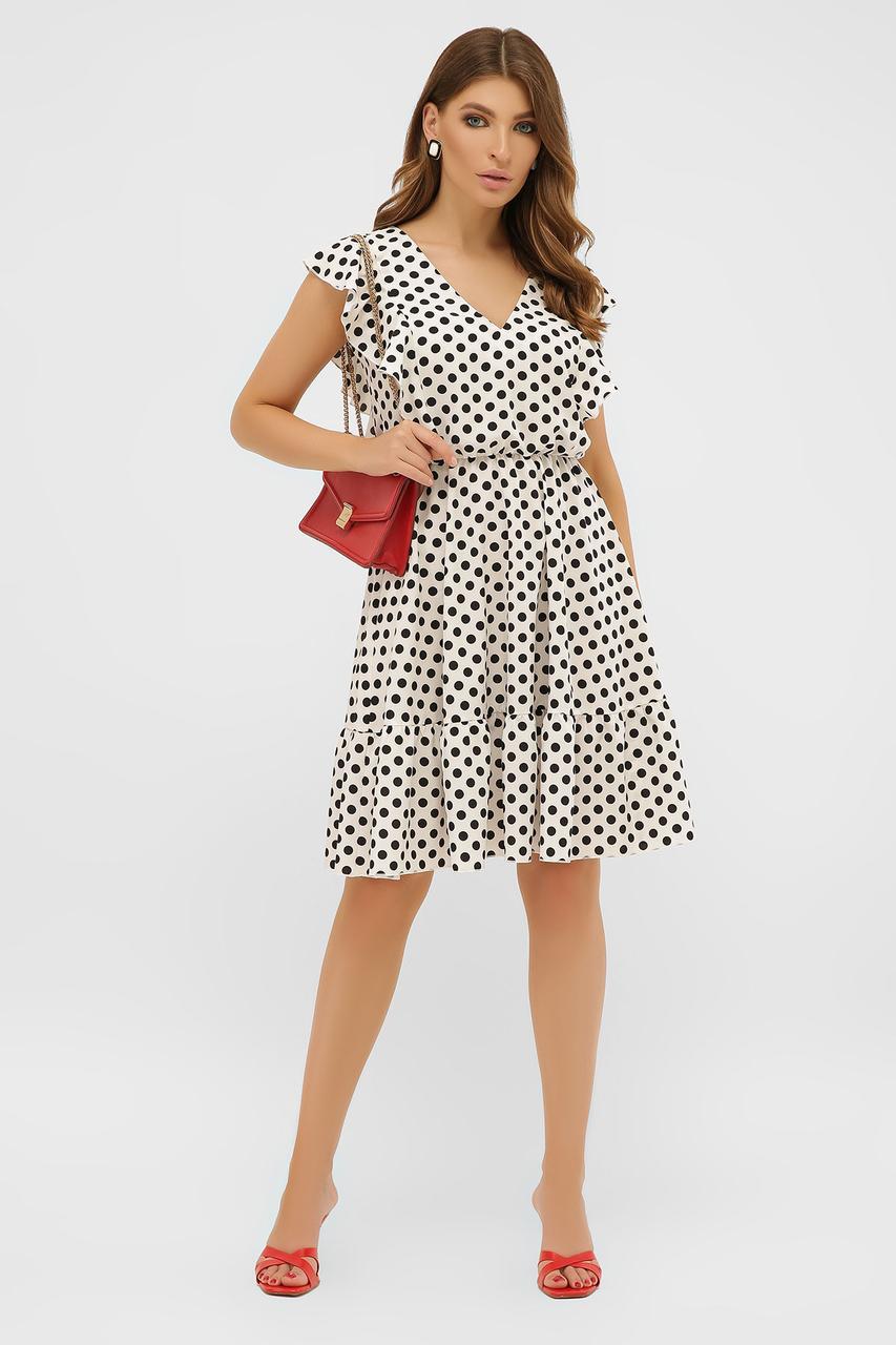 Коротке літнє плаття без рукавів з воланчиками біле в горошок