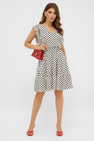 Коротке літнє плаття без рукавів з воланчиками біле в горошок, фото 2