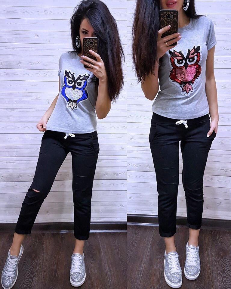 Женский летний костюм футболка с совой и укороченные брюки двухсторонняя пайетка