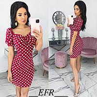 Элегантное малиновое платье женское в горошек (3 цвета) ЕФ/-559