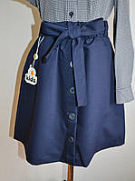 Школьная юбка синего цвета для девочек 10-14 лет с пуговицами