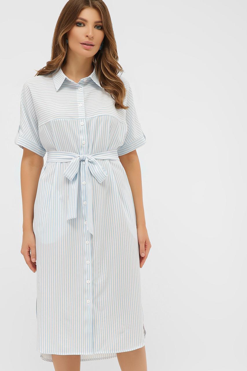 Легкое платье-рубашка ниже колен с карманами голубое в полосочку