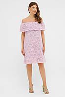 Летнее нарядное платье-сарафан из хлопка с открытыми плечами и воланом лавандовое