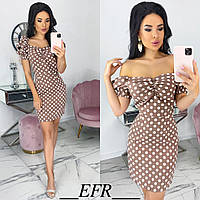 Элегантное кофейный платье женское в горошек (3 цвета) ЕФ/-559