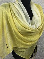 Женский желтый льняной шарф (цв.8)