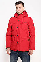 Мужской зимний пуховик с капюшоном красный Finn Flare W16-21000-317