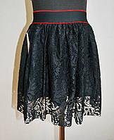 Детская юбка черного цвета на девочку 5-10 лет гипюровая