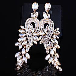 Сережки вечірні з весільні оптом ЗІ-004, шампанського кольору із золотистою основою