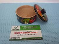 Солонка с крышкой (черная) - Петриковская роспись\ Salt shaker with lid (black)  - Petrikov painting, фото 1