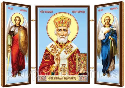 Святитель Николай, архиепископ Мирликийский, чудотворец. Икона. Складень деревянный 58Х84