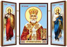 Святитель Миколай, архієпископ Мирлікійський, чудотворець. Ікона. Складення дерев'яний 58Х84