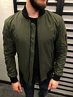 Бомбер мужской темно-зелёный модный куртка мужская хаки демисезонная легкая